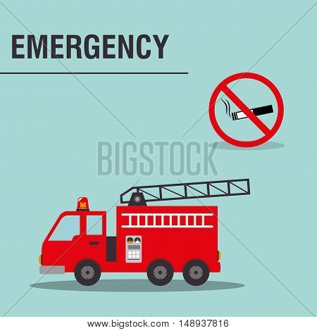 fire truck emergency vehicle rescue service and forbidden smoking signal. vector illustration