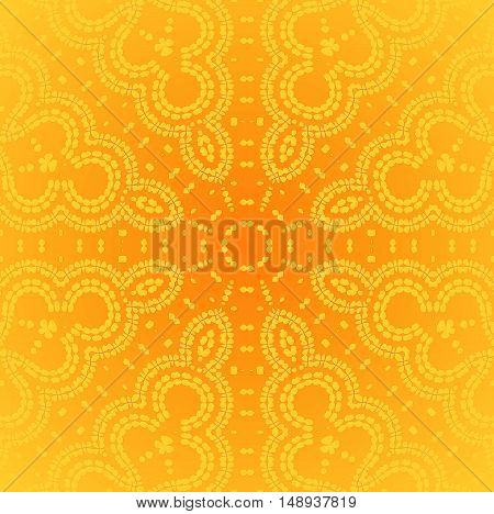 Abstract geometric seamless plain background. Regular star ornament in bright yellow orange with round elements, ornate and dreamy.