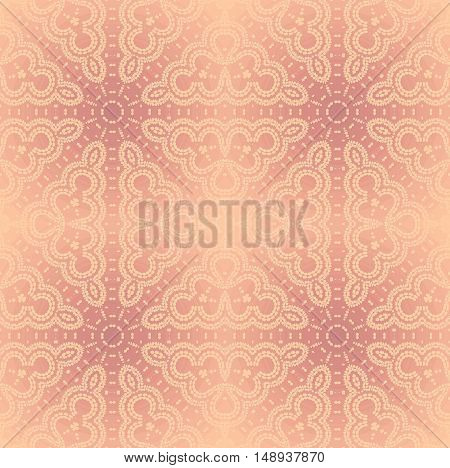 Abstract geometric seamless background, shiny and elegant. Regular star ornaments in pink shades with round elements, delicate and dreamy.