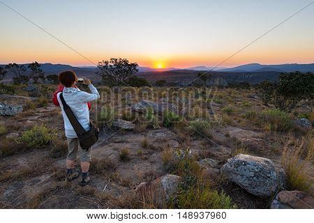 Tourist Taking Photo With Smartphone At Sunset At Blyde River Canyon, Famous Travel Destination In S