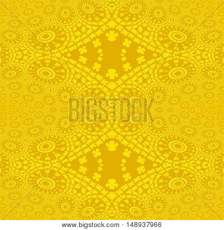 Abstract geometric plain background. Regular seamless ornaments with concentric circles and diamond pattern in bright yellow.