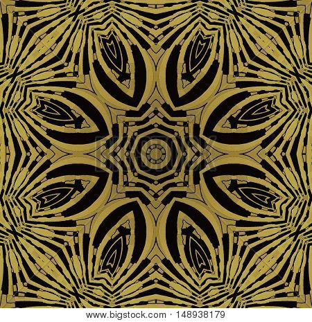 Abstract geometric seamless background. Regular symmetric star ornament gold and black, ornate and extensive.
