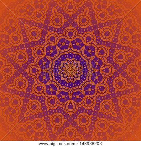 Abstract geometric seamless background. Regular symmetric star ornament orange and purple, centered and blurred.