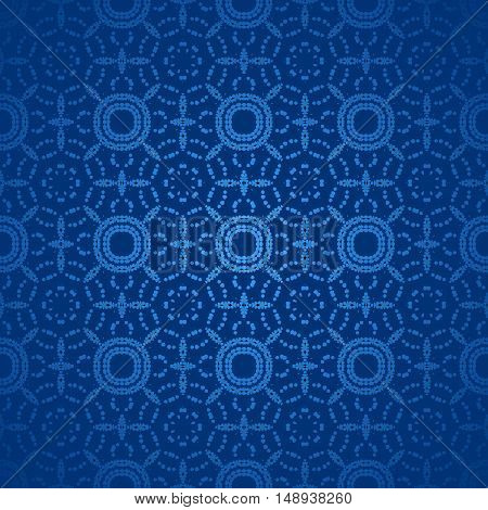 Abstract geometric seamless shiny background. Regular circles pattern in dark blue shades centered and blurred, single color.