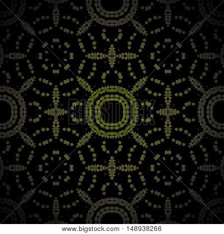 Abstract geometric seamless background. Regular circle pattern in olive green and brown on black centered and blurred.