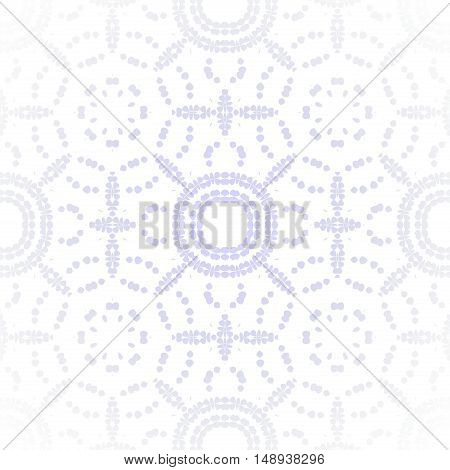 Abstract geometric seamless gauzy background. Regular circle pattern in pastel purple on white, centered, shiny and blurred.