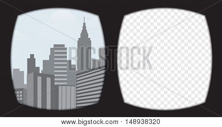 Virtual reality glasses overlay on the transparent background. View from the vr helmet include urban scene template.