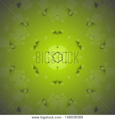 Abstract geometric seamless modern background. Regular square pattern in green shades, centered, shiny and blurred.