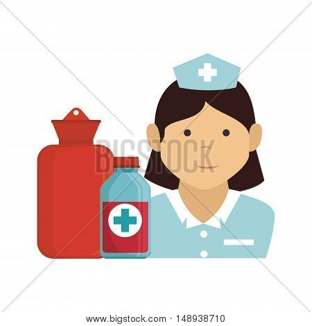avatar woman nurse medical assitance with hot water bag and medicine bottle. colorful design. vector illustration