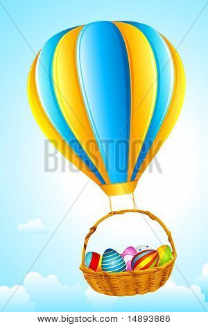 Easter Eggs hanging from Hot Air Balloon