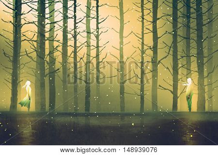 man and woman standing opposite of each other against night forest, illustration painting