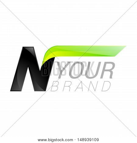 N letter black and green logo design Fast speed design template elements for application.