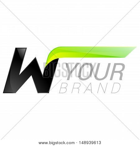 W letter black and green logo design Fast speed design template elements for application.