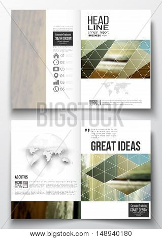 Set of business templates for brochure, magazine, flyer, booklet or annual report. Colorful polygonal backdrop, blurred background, sea landscape, modern stylish triangle vector texture.