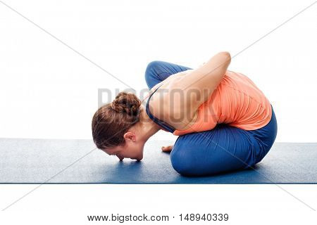 Woman doing Ashtanga Vinyasa Yoga stretching  asana Marichyasana B - pose posture dedicated to sage Marichi on white background