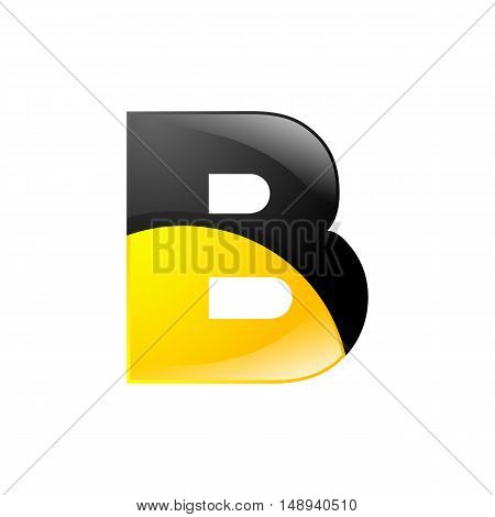 Creative yellow and black symbol letter B for your application or company design alphabet Graphics 3d letter.