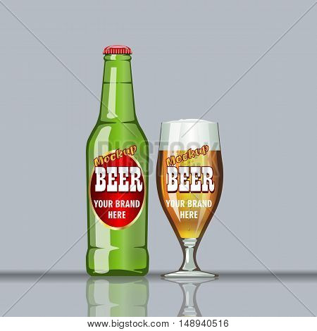 Digital vector glass of brown beer with bubbles mockup, green bottle, realistic flat style, isolated and ready for your design and logo