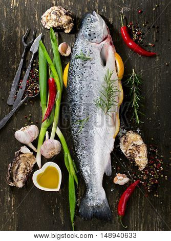 Raw Salmon With Herbs And Spices On Dark Background.  Fish Preparing For Cooking. Healthy Food Conce