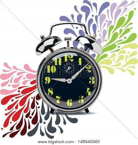 Black retro alarm clock with colorful numbers on a color dynamic background