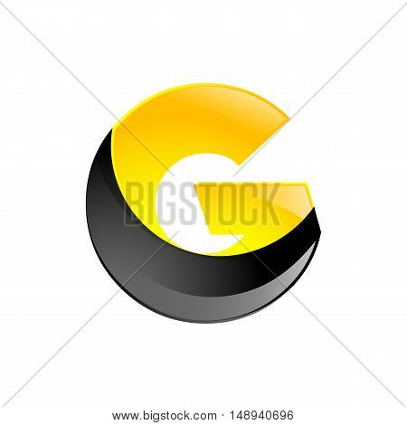 Creative yellow and black symbol letter G for your application or company design alphabet Graphics 3d letter.