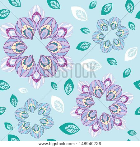 Abstract floral seamless pattern stylized flower petals on a blue background with scattered leaves