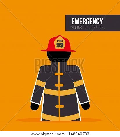 firefighter man cartoon with security equipment. emergency service. vector illustration