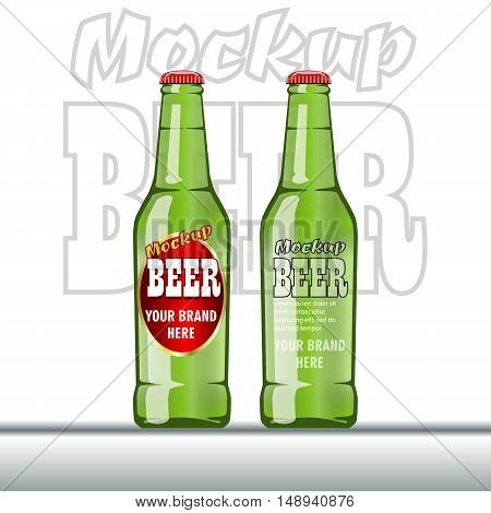 Digital vector glass of beer mockup, green and red bottle, realistic flat style, isolated and ready for your design and logo