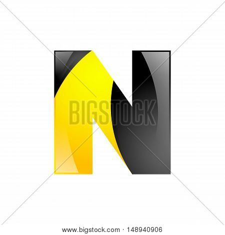 Creative yellow and black symbol letter N for your application or company design alphabet Graphics 3d letter.