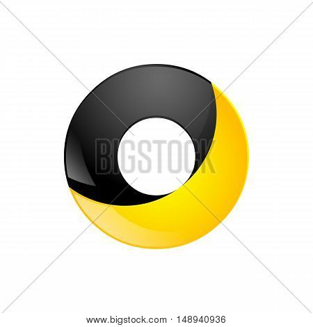 Creative yellow and black symbol letter O for your application or company design alphabet Graphics 3d letter.