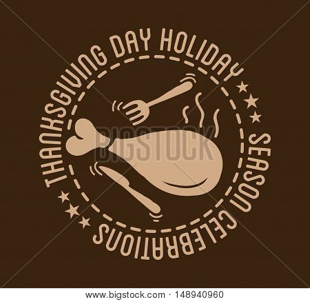 Label design template to Thanksgiving Day. Black icon with turkey for banner and invitation. Vector tag, stickers and badge with symbol for fall holiday. Flat design. Illustration isolated