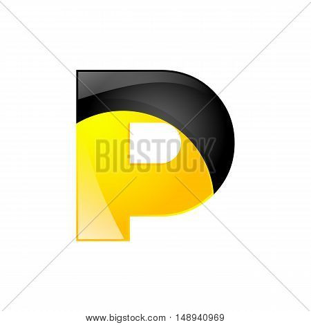 Creative yellow and black symbol letter P for your application or company design alphabet Graphics 3d letter.