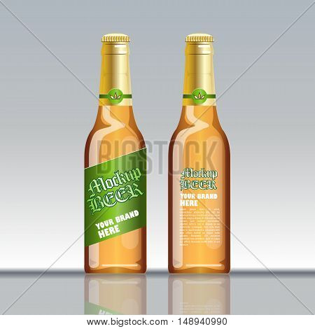 Digital vector brown beer mockup, green and golden bottle, realistic flat style, isolated and ready for your design and logo