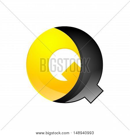 Creative yellow and black symbol letter Q for your application or company design alphabet Graphics 3d letter.