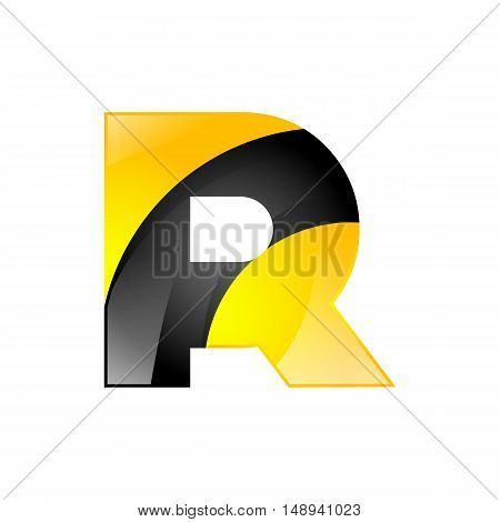Creative yellow and black symbol letter R for your application or company design alphabet Graphics 3d letter.