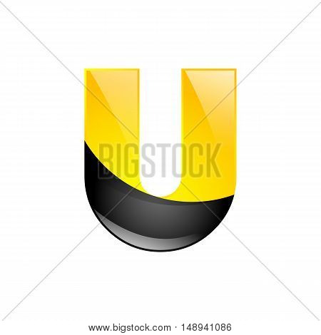 Creative yellow and black symbol letter U for your application or company design alphabet Graphics 3d letter.