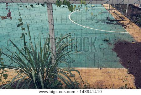 Image Of Old Soccer Goal In Field .