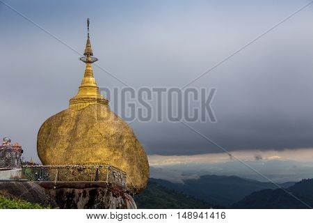Holy Old Golden Rock stupa in Myanmar