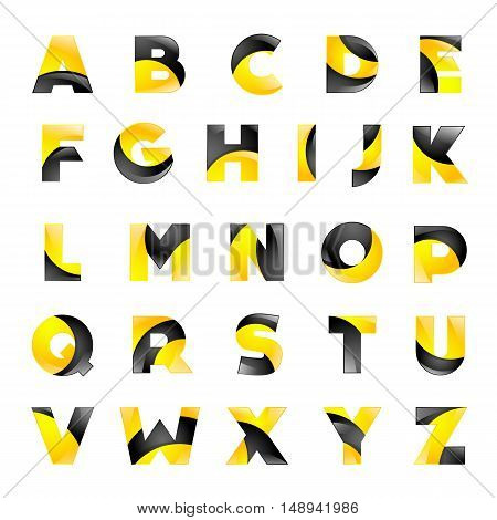 Creative yellow and black font for your application or company design alphabet Graphics 3d letters.