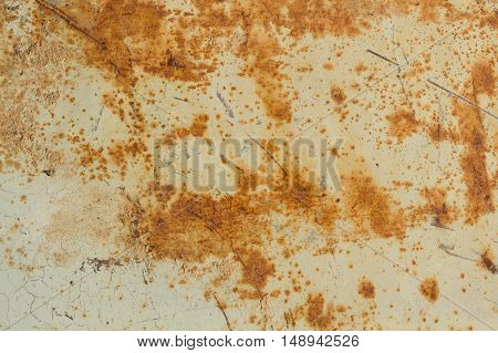 Rusty garage door or iron sheet. Rust stains and scratches on a gray metal background.
