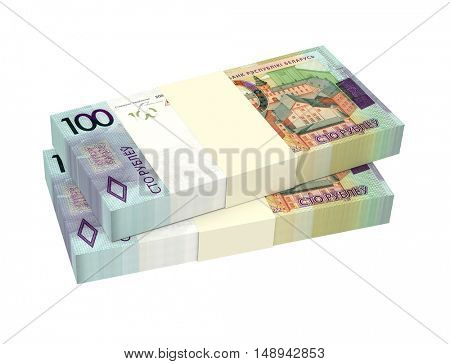 New Belarusian rubles bills isolated on white background. 3D illustration.