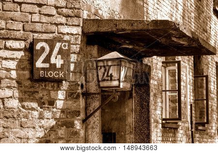 OSWIECIM POLAND - MAY 12 2016: Number block in concentration camp Auschwitz-Birkenau in Oswiecim Poland.