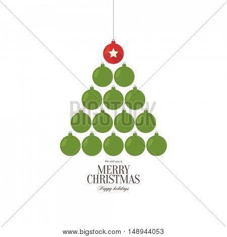Christmas and New Year. Vector greeting card with Christmas of the ornament balls