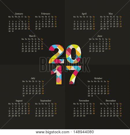 Vector 2017 calendar template