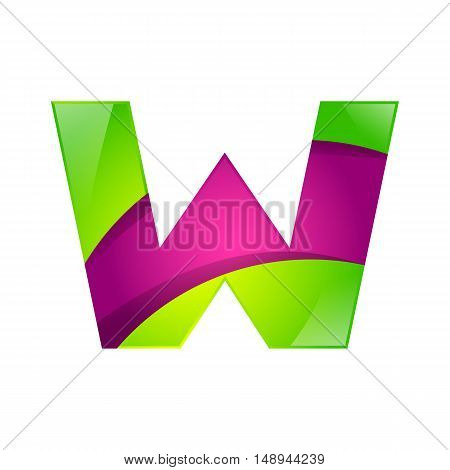 W letter green and pink logo design template elements an icon for application company.
