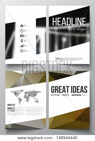 Set of business templates for brochure, magazine, flyer, booklet or annual report. Colorful polygonal background, blurred image, modern stylish triangular vector texture.