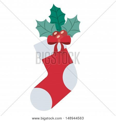 Boot icon. Merry Christmas season and decoration theme. Isolated design. Vector illustration