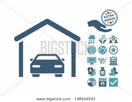 Car Garage pictograph with bonus pictures. Vector illustration style is flat iconic bicolor symbols cyan and blue colors white background.