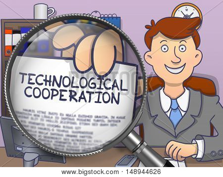 Technological Cooperation. Cheerful Officeman Sitting in Offiice and Showing Paper with Concept through Magnifier. Multicolor Doodle Style Illustration.