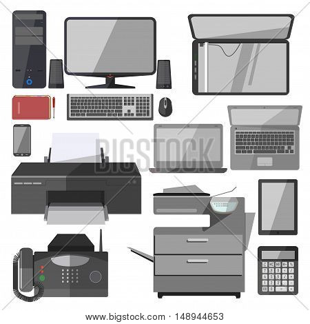 Set of technology equipment for office. Business icons: computer, printer and phone, laptop and telephone. Digital vector illustration isolated on white background.
