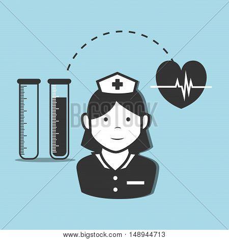 avatar woman nurse medical assitance with cardio pulse heart and test tubes medicine icon. vector illustration